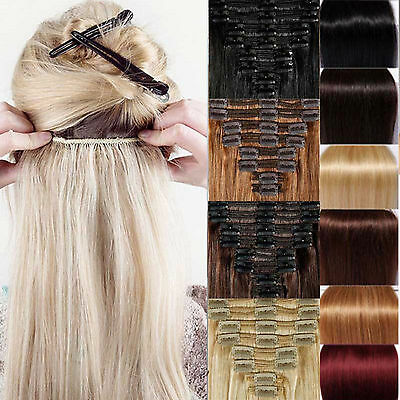 Clip In Hair Extension Full 8 & 1 piece Black Brown Light Blonde Ginger Plum Red