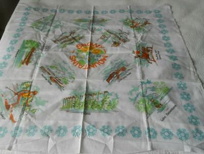 Unused Vintage Printed Cotton Souvenir Table Cloth From The Snowy Mountains