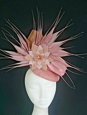 Nude Light Pale Pink Leather Flower Feathers Hat Fascinator Races Melbourne Cup