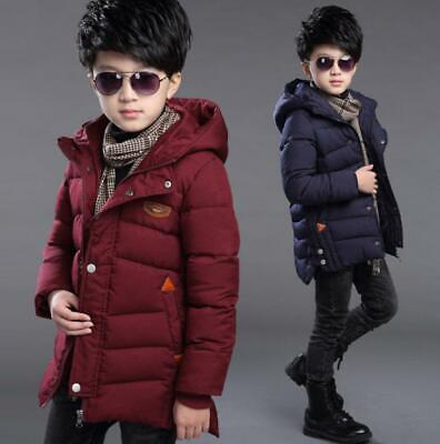 Boys Kids Winter Thick Cotton Padded Quilted Long Jacket Hooded Warm Coat Parka