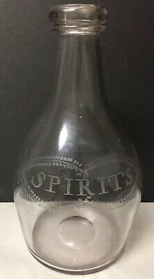 Early Antique Hand Blown Etched Clear Glass Decanter Wine Spirits Liquor Bottle