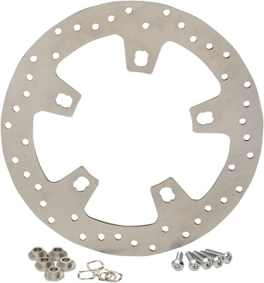 """Drag Specialties 11.8"""" Stainless Steel Drilled Front Brake Rotor 1710-2404"""