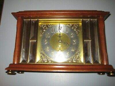 Ansonia Quartz Mantel Gold Medallion Mantel Clock Beveled Mirrors Model 1345