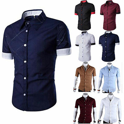 Mens Short Sleeve Collar Buttons Slim Fit Formal Business Wedding Party Tee Tops