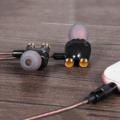 In-Ear Dual Driver Sound Earphone Wired HIFI Stereo Headphone Sport Bass Headset