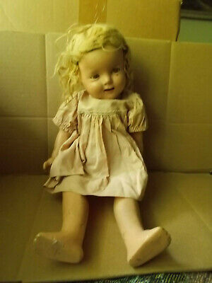 Antique Ideal Cop Nate Composition Shirley Temple Doll 18 Inch Needs TLC