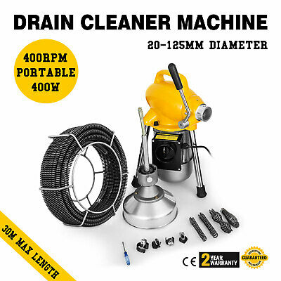 Drain Cleaning Machine for Sewer Pipe Ø20-100mm 500W 20mx16mm Snake Auger Cable