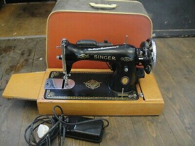 Vintage Retro Electric Singer Sewing Machine with Light & Carry case FREE P&P