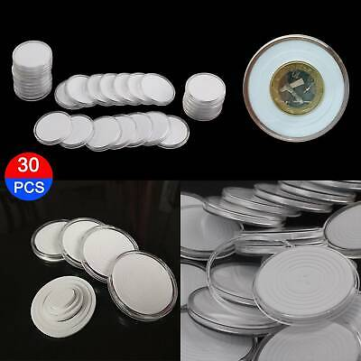 30PCS 46mm Coin Cases Capsules Holder Applied Clear Plastic Round Storage Box
