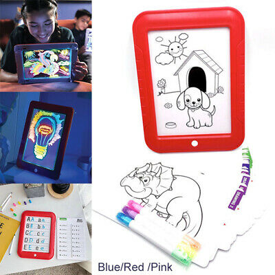 AU 3D Magic Pad Kids Toy Light Up LED Board Drawing Tablet Art  Childrens Gift