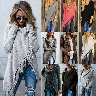 Women's Long Cardigan Loose Sweater Knitted Outwear Jacket Coat Top Poncho Shawl