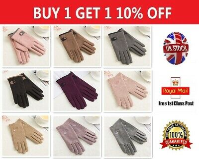 New Women Winter Touch Screen Gloves Ladies Warm Lined for Driving Fashsion