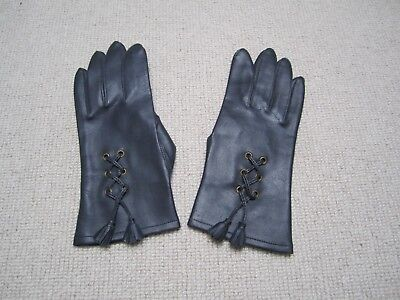 Vintage dark blue leatherette gloves size 7