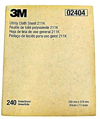 "3M 02404 Utility Cloth Coated Sanding Sheets 11"" x 9"" 
