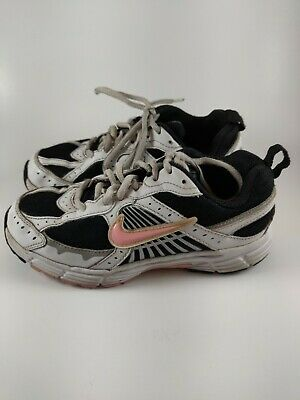 Nike Girls Sneakers Tennis Shoes Laces White Black Pink Size 1Y 354820-062