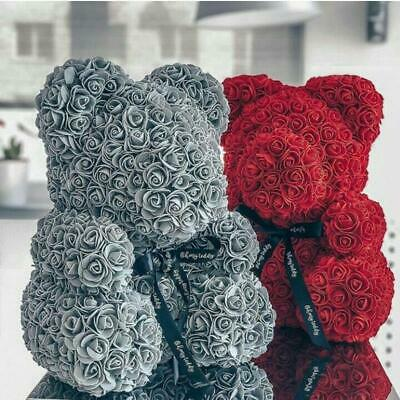 Weihnachtsgeschenk Rose Bear Flower Valentinstag Party Love Teddy 25cm Grau