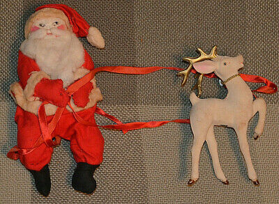 "1920s Antique Vintage Old German STUFFED SANTA CLAUS 9""  Christmas w/ Reindeer"