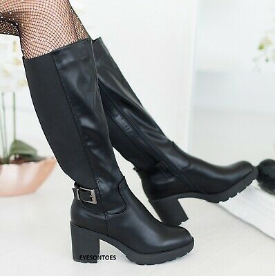 Ladies Womens Block Chunky Heel Knee High Wide Calf Winter Riding Boots Size 3-8