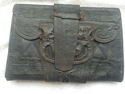 Early 19th Century To The Civil War Leather Mans Tooled Wallet AMAZING! RARE
