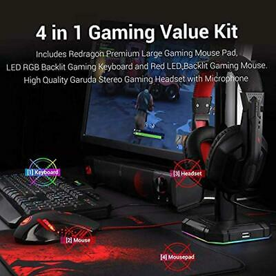 Gaming Mouse Plus Large Gaming Mouse Pad Combo 3200 DPI Wired Ergonomic RED LED