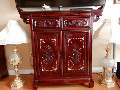 $2600 Oriental Chinese Rosewood Bar Cabinet Inlaid Mother of Pearl Carved Dragon