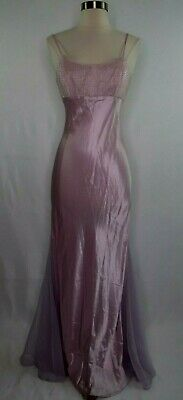 VTG Unbranded Purple Beaded Chest Silky Mermaid Party Evening Prom Dress Women M