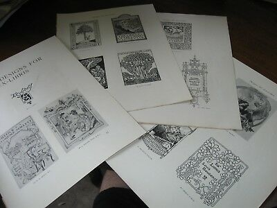 1914 Art Print / Article - EX-LIBRIS BOOKPLATE Designs Design BOOKS