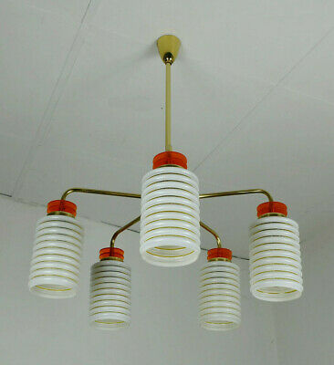 1950s mid century PENDANT LIGHT brass bakelite lucite metal 5 glass shades