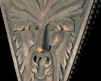 Antique Victorian Era Beautiful Carved Black Oak Face Fire Bellow Brass Fitting