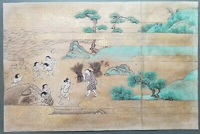 Tosa or Kano School antique Japanese painting, Salt Making, 18th century