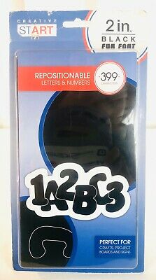 "Repositionable LETTERS & NUMBERS 2"" INCH Black Sign Board Alphabet Phonics"