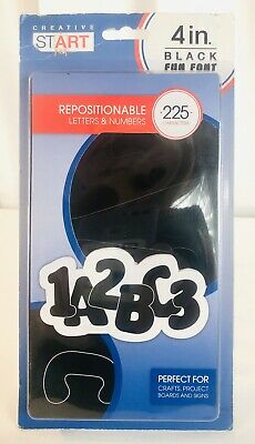 "Repositionable LETTERS & NUMBERS 4"" INCH Black Sign Board Alphabet Phonics"