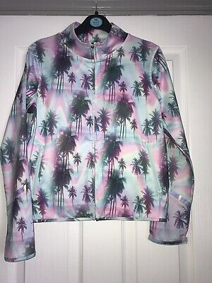 Fab Girls Next NX Sport Purple Blue Palm Tree Jacket Age 12 Worn Once