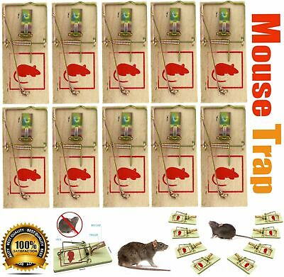 4, 8 or 12 Traditional Wooden Mouse Traps Bait Mice Rodent Pest Control Trap