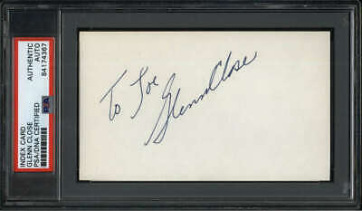 "Glenn Close Actress Fatal Attraction Signed 3"" x 5"" Index Card PSA/DNA"