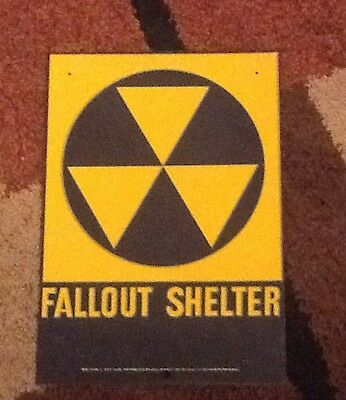 2 Each Fallout shelter signs original 1960's. 10 X 14.