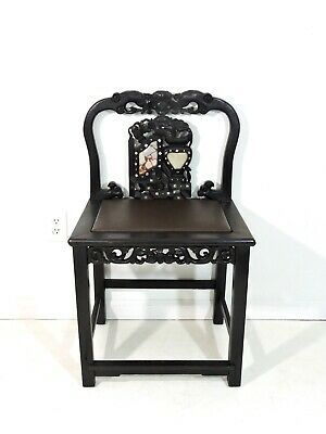 Antique 19th C Chinese Qing Blackwood,Marble & Mother of Pearl Side Chair Hongmu