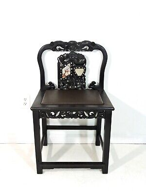Antique 19th Century Chinese Qing Blackwood, Marble & Mother of Pearl Side Chair