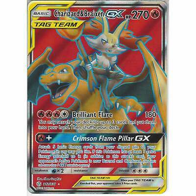 212/236 Charizard & Braixen TAG TEAM GX | Rare Ultra Cosmic Eclipse Pokemon TCG