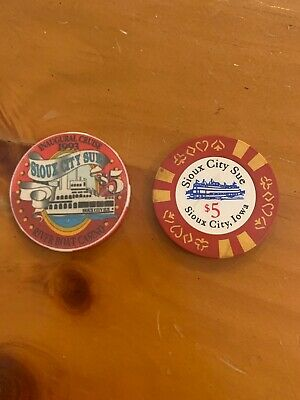 RARE - Sioux City Sue Iowa Obsolete $5 Casino Chips X 2!
