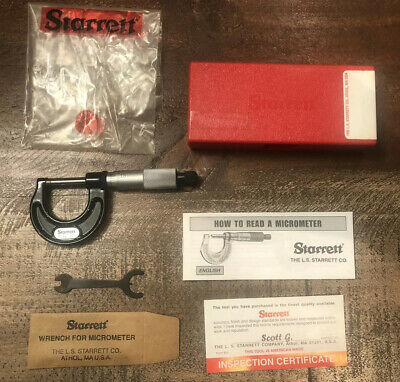 "Starrett 0-1"" Inch Micrometer, Model 436.1 w/Box And Instructions"