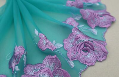 """7.5/""""*1Y Embroidered Tulle Lace Trim~Lt.Green+White+Gold Yellow~Splendid Spring~"""