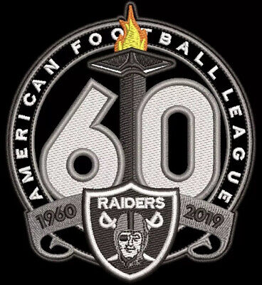 Oakland Raiders 60Th Anniversary Patch 1960 - 2019 Season Nfl Football Las Vegas
