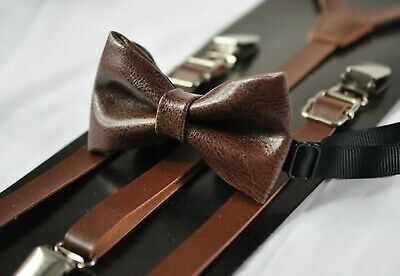 Dark Brown Coffee Faux Leather Bow tie + Brown Suspenders Braces for all ages