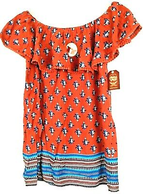 NEW NWT Faded Glory Ruffled Top Floral Country Shirt Top Blouse Red Women/'s M-L