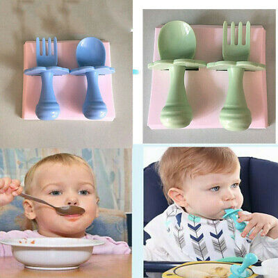 NEW Baby Self Feeding Training Spoon Fork Cutlery Set Safe and Easy to Use M8Z3E