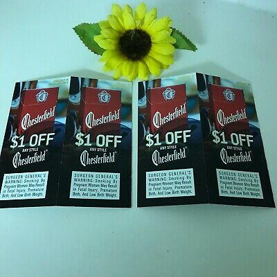 Chesterfield Cigarette 4 Coupons $4.00 Savings $1.00 Off Pack Expires 12/31/19