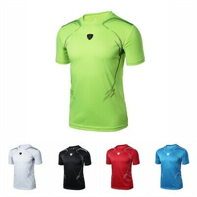 Mens Quick-Dry Short Sleeve Sports T-Shirt Breathable Workout Tops Gym Runnings