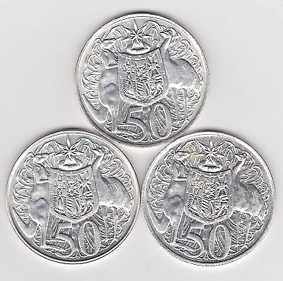 1966 Round Australia 50 Fifty Cent Coins X 3 (80% Silver) - Three Great Coins