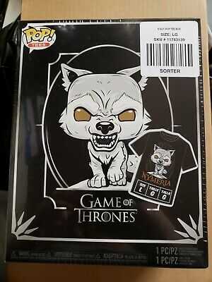 Funko Pop & tee Nymeria Dire Wolf Game of thrones GOT exclusive size Large